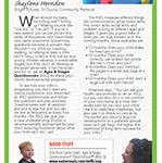 Family advocate woman plays ball with young boy in ad promoting Ages & Stages Questionnaire